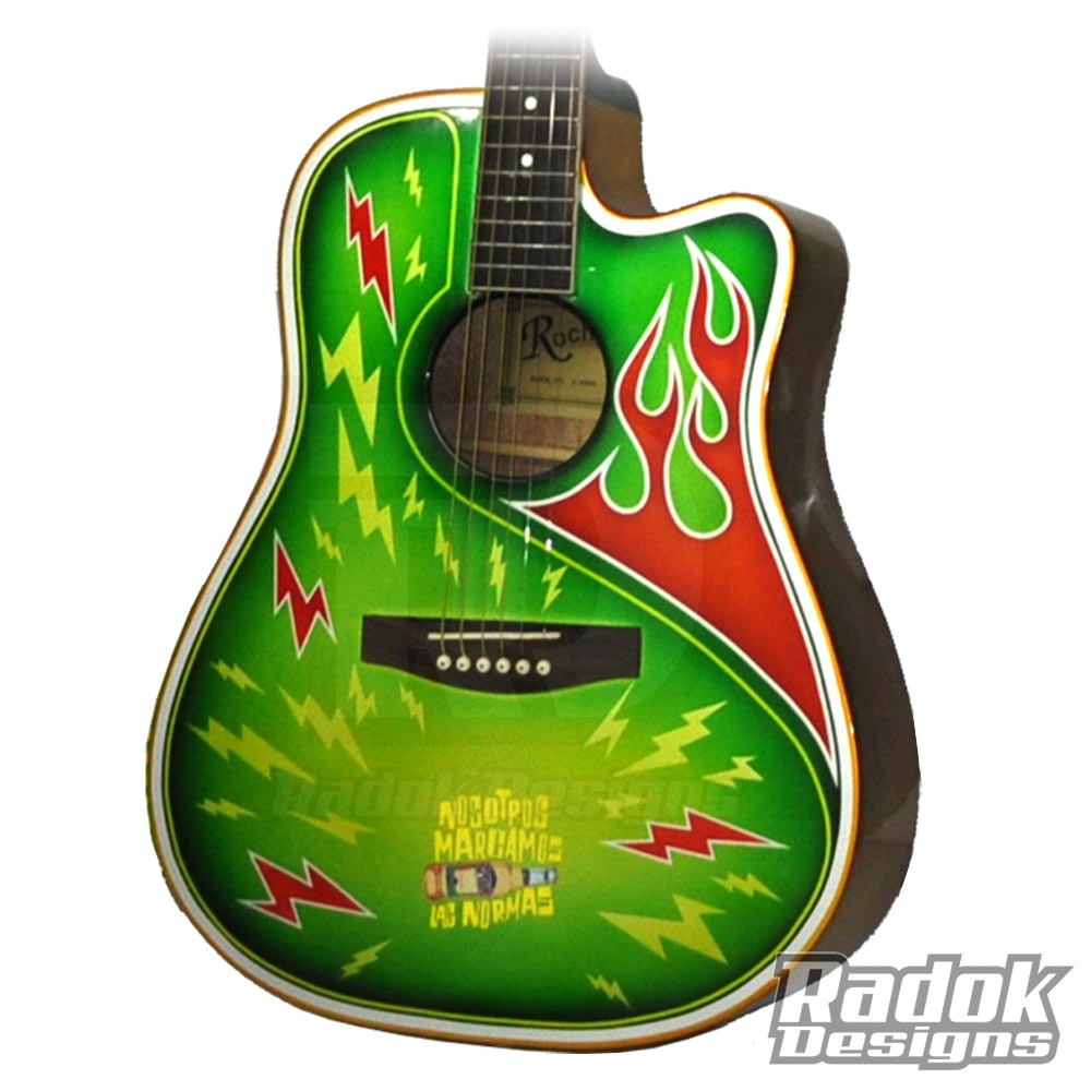 guitarra desperados- flaming- metal flakes